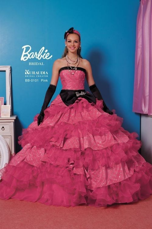 Barbie,Fluffy,doll,pink,dress