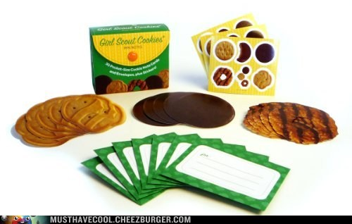 girl scout cookies,paper,notes