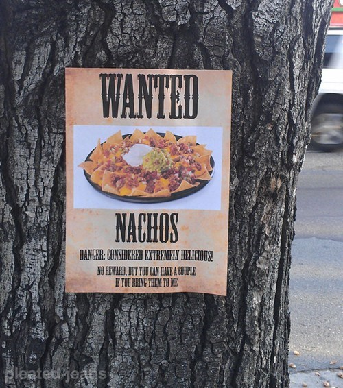 wanted poster,nachos,food