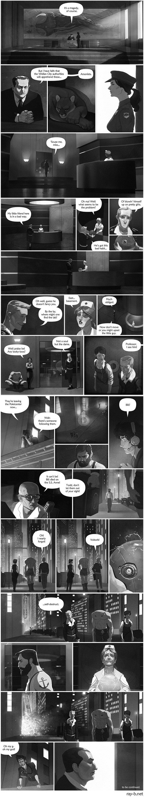 Pokémon,voltorb,todd snap,self destruct,comic,noir