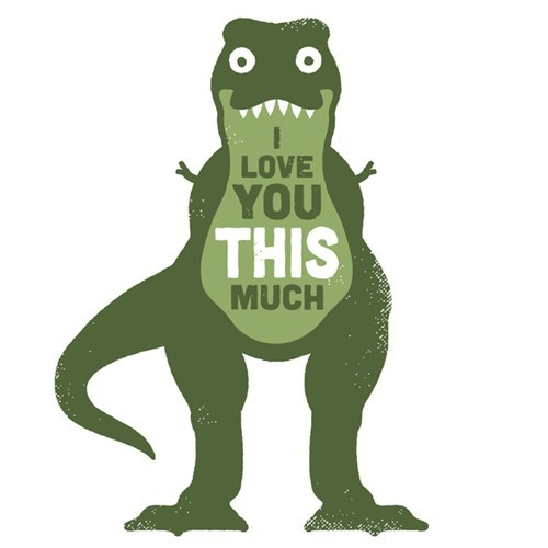 i love you love Valentines day t rex - 7035181824