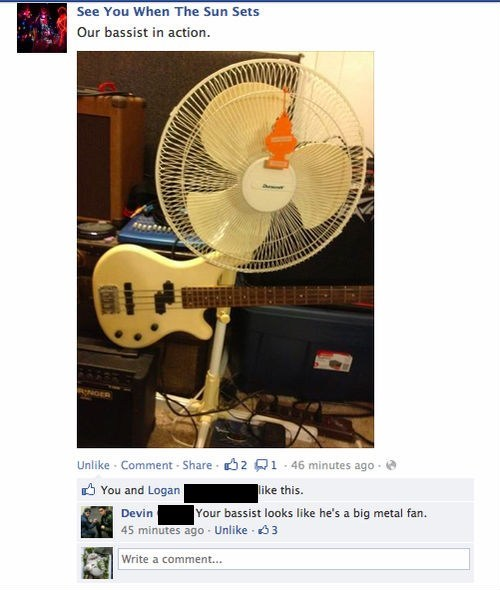 puns facebook fan heavy metal bass Music FAILS g rated