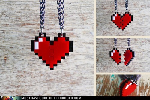 8 bit chain heart necklace Jewelry pixelated pendant - 7035441920