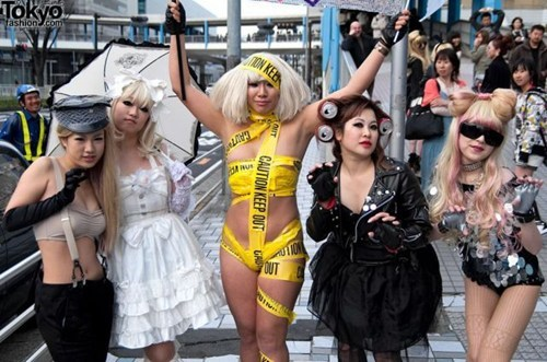group of girls lady gaga costume