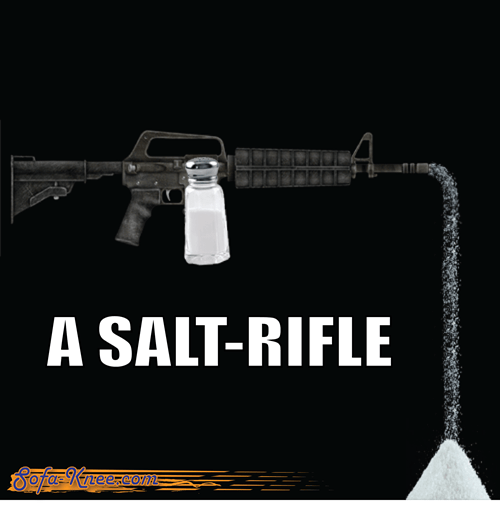 rifle salt homophone assault suffix
