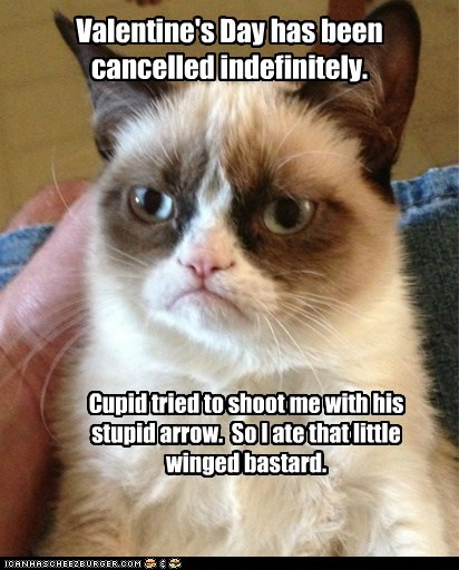 Valentine's Day has been cancelled indefinitely. Cupid tried to shoot me with his stupid arrow. So I ate that little winged bastard.