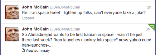 twitter john mccain monkey iran space - 7035696384