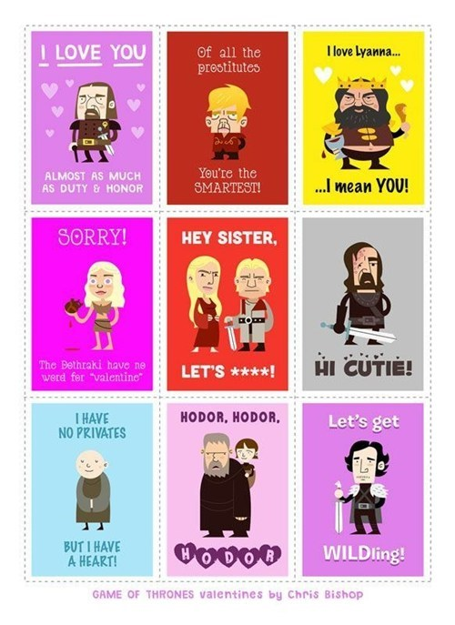 Game of Thrones,cards,Valentines day,dating fails,g rated