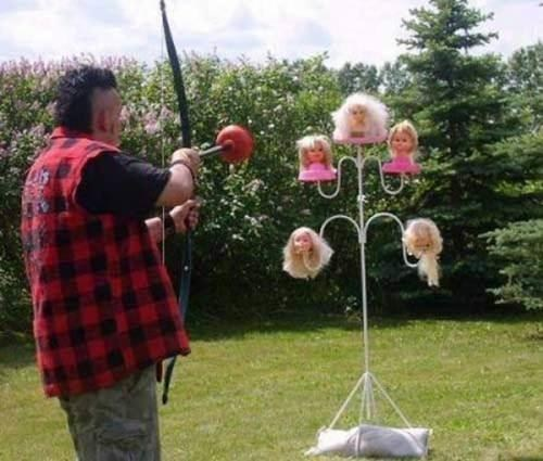 bow doll heads archery
