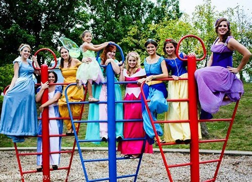 disney wedding party bridesmaids princesses