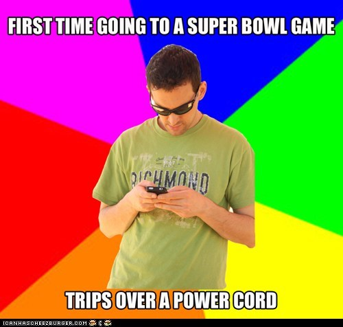 First time going to a super bowl game, trips over a power cord