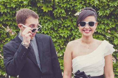 bride,sunglasses,groom,cute,checking her out
