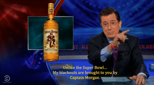 stephen colbert,captain morgan,football,blackout