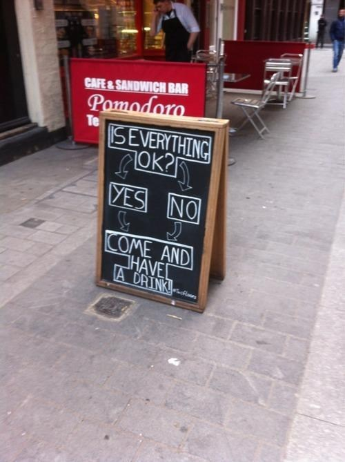 is everything OK,have a drink,chalkboards