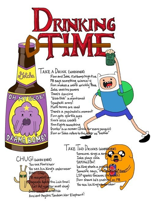 new games,oh my glob,drinking games,adventure time