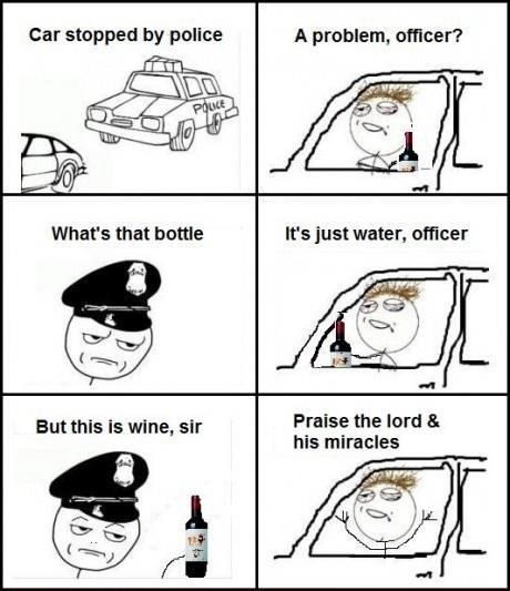 jesus cops water wine pulled over - 7039346432