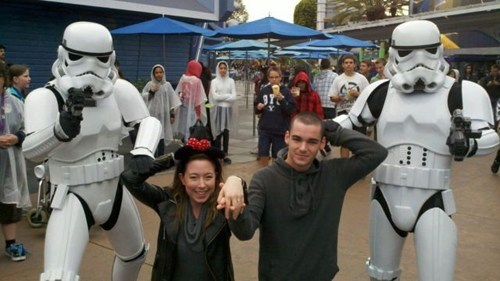 disney hostage star wars proposal engaged love stormtrooper