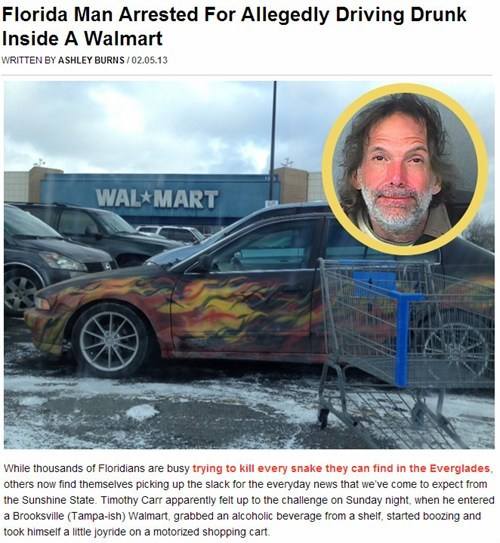 news,drunk driving,Walmart,Probably bad News
