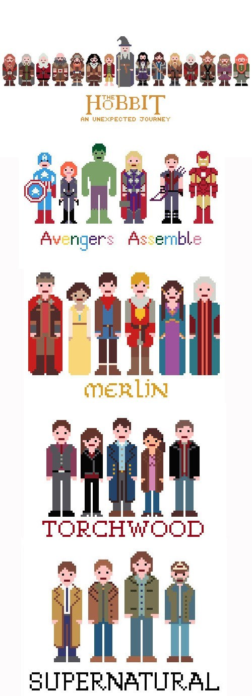 sprites,Torchwood,The Avengers,patterns,Supernatural,The Hobbit,merlin,cross stitching