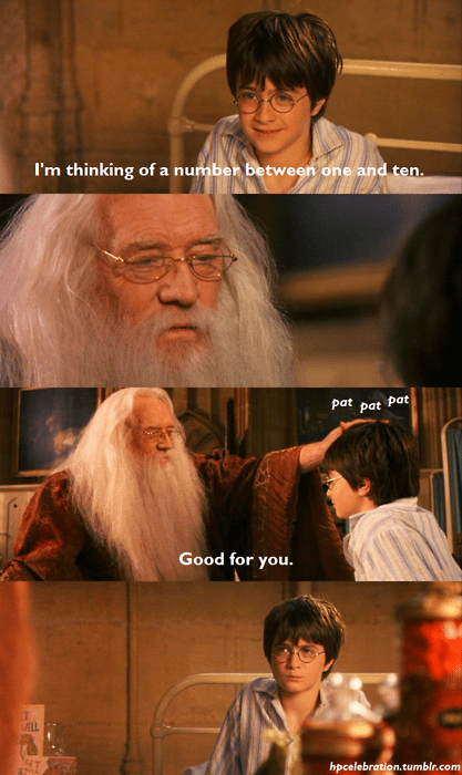 Harry Potter Daniel Radcliffe richard harris dumbledore thinking of a number condescending good for you pat - 7039696896