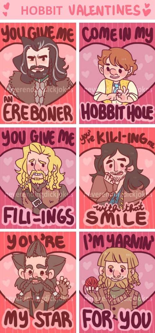 valentines kili Bilbo Baggins puns The Hobbit fili hobbit holes Erebor - 7039937024