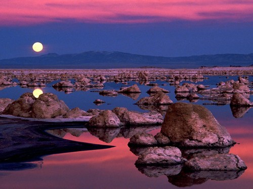 full moon,reflection,pretty colors,lake