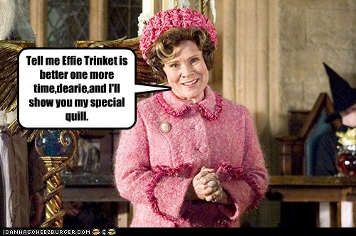 Harry Potter,effie trinket,imelda staunton,hunger games,quill,dolores umbridge