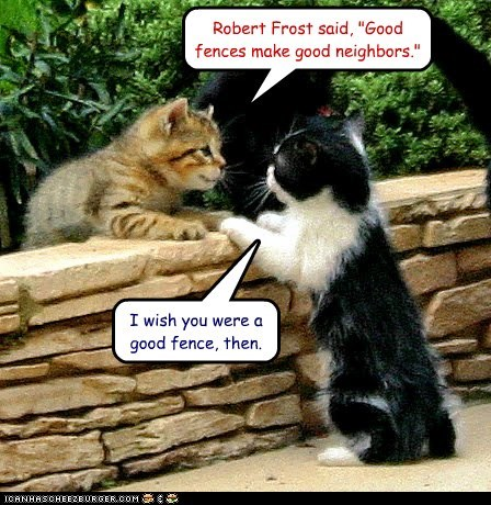 """Robert Frost said, """"Good fences make good neighbors."""" I wish you were a good fence, then."""