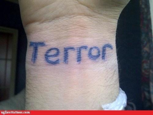 terror,tattoo,wrist,homophones,terrorist