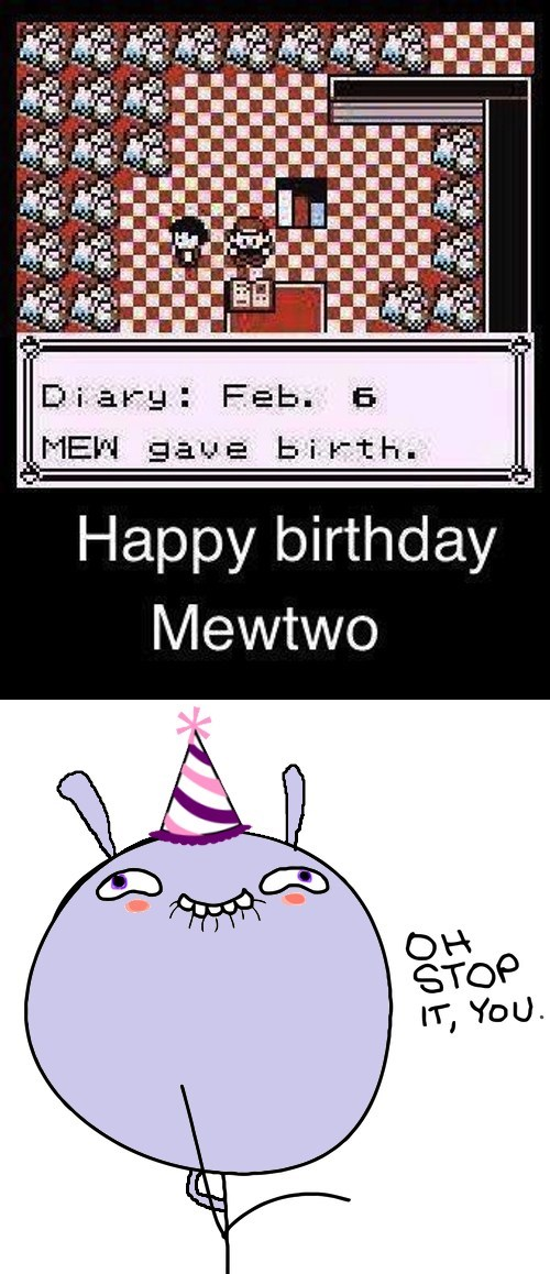mew,Pokémon,happy birthday,mewtwo
