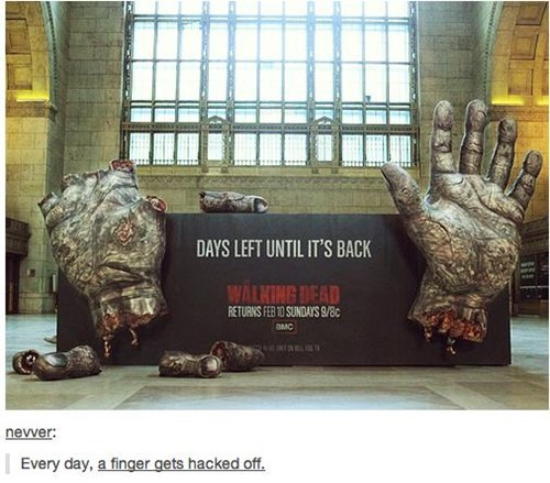 promos zombie hands TV The Walking Dead monday thru friday