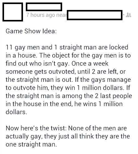 best idea,game show,facebook,gay
