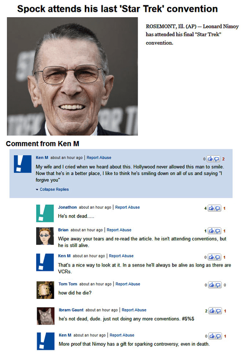 comments,convention,dead,Leonard Nimoy,rip