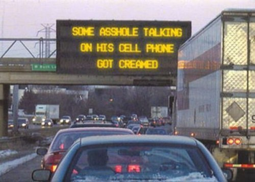 creamed road signs cell phone AutocoWrecks - 7041895936