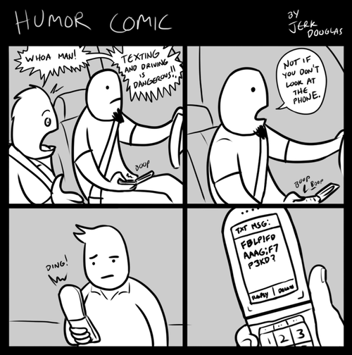 comics texting and driving what's the point jerk douglas - 7042151424