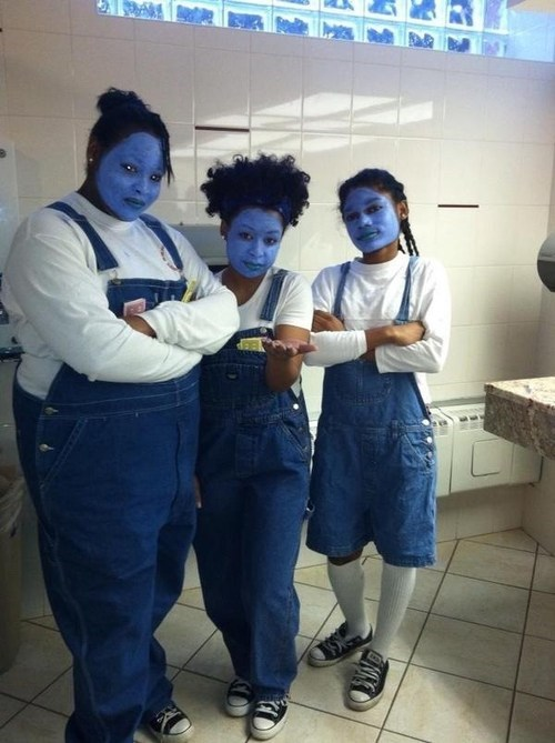 bathroom,overalls,Blue Man Group