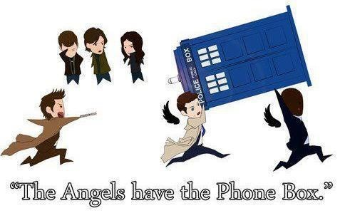 stealing,phone box,angels,Fan Art,tardis,Supernatural,dean winchester,doctor who,sam winchester,castiel