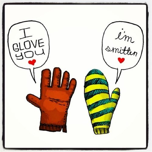 glove,sweet nothings,similar sounding,mitten,love,smitten
