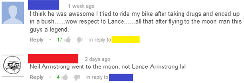 comments,Lance Armstrong,youtube,neil armstrong
