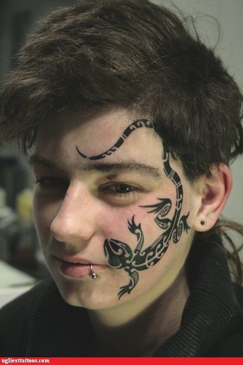 face tattoos,liazrds,piercings
