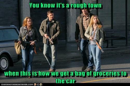 guns,jensen ackles,Supernatural,dean winchester,sam winchester,Jared Padalecki,rough