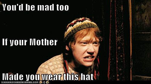 Harry Potter,mother,rupert grint,angry,Ron Weasley,hat