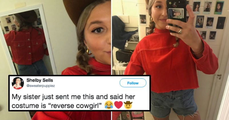 punny halloween costume of a cowgirl wearing her shirt backwards