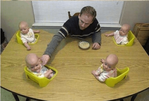 table,quadruplets,feeding