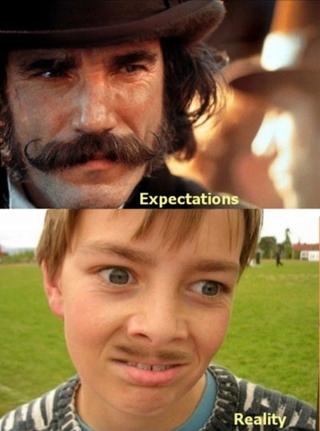 mustache facial hair expectation vs reality