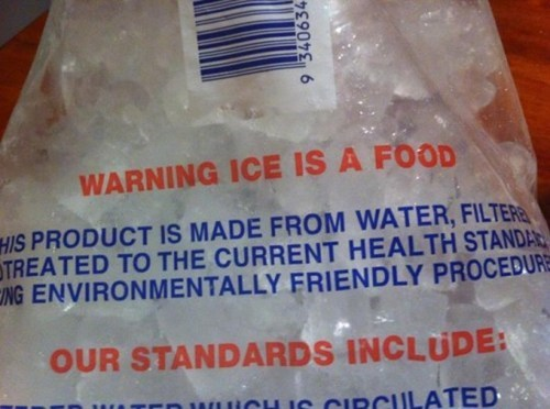 warning ice food