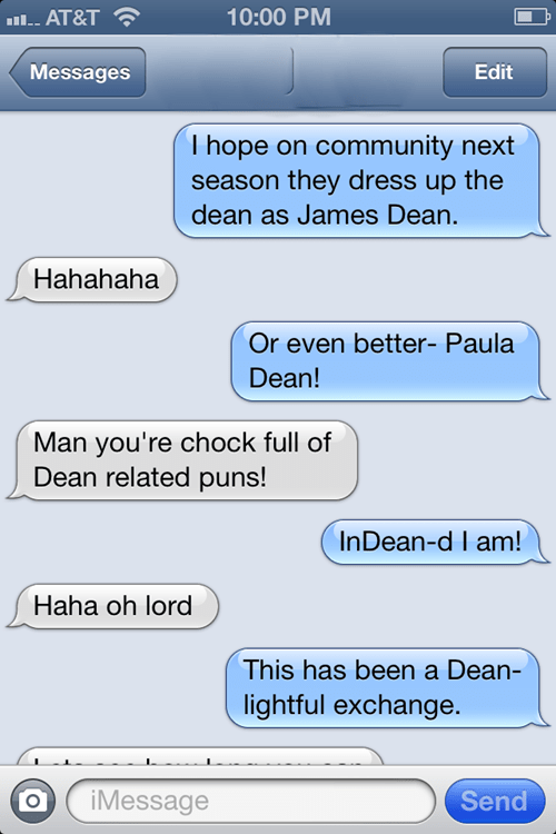 dean,text message,variations on a theme,community,speculation,iphone
