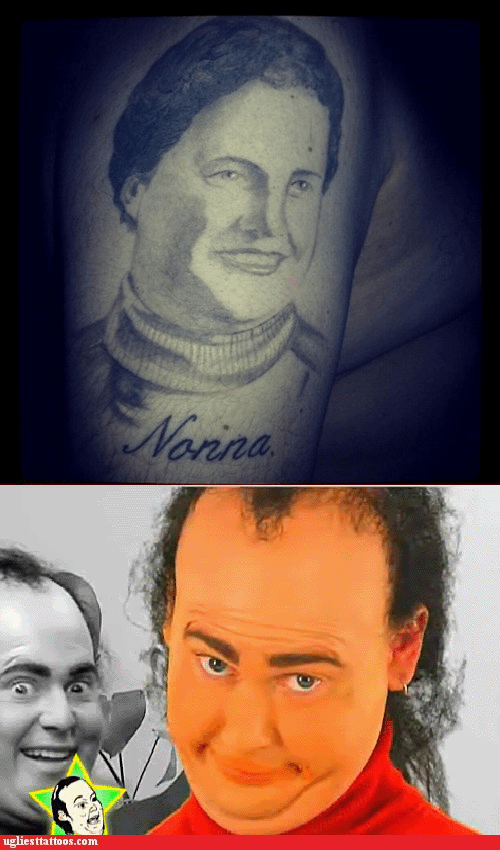 arm tattoos Tim and Eric portrait tattoos g rated Ugliest Tattoos - 7044800000