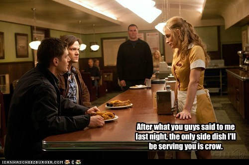 jensen ackles,Supernatural,dean winchester,sam winchester,Jared Padalecki,diner,waitress,crow