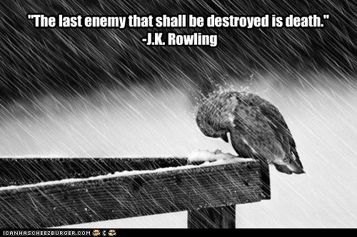 """The last enemy that shall be destroyed is death."" -J.K. Rowling"